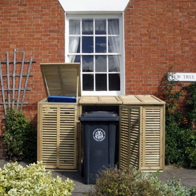 Fully Enclosed Triple Wheelie Bin Storage Unit Pine Wooden Log Store