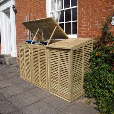Fully Enclosed Triple Wheelie Bin Storage Unit