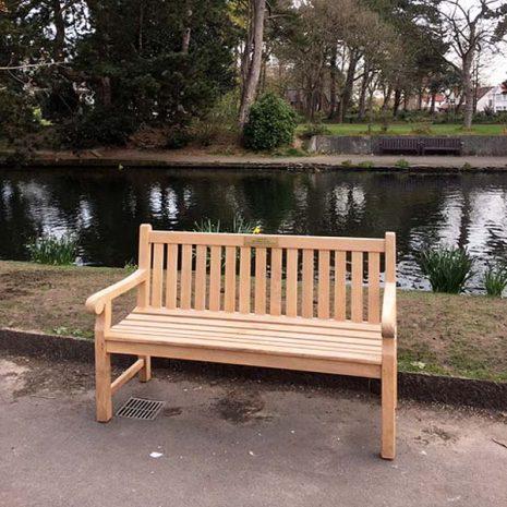 Wordsworth 150cm Teak Bench with Brass Memorial Plaque