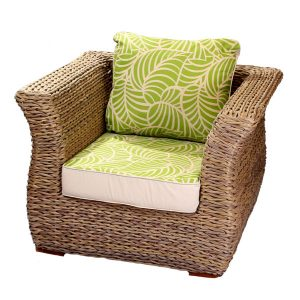 Bude Armchair Cushion Jungle Leaf and Sandstone