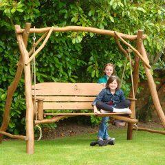 Macaque 3 Seater Oak Garden Swing Seat