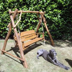 Macaque 3 seater oak swing