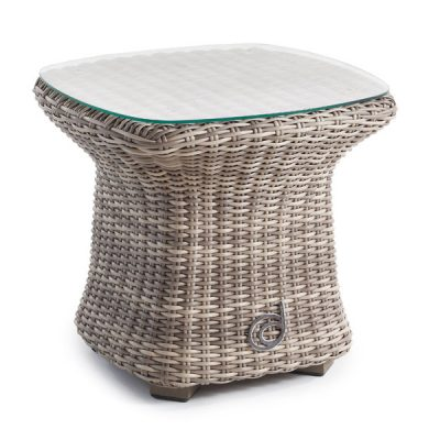 Sandbanks AquaMax Small Glass Top Garden Rattan Side Table