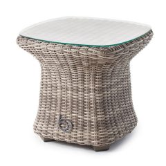 Sandbanks AquaMax Small Glass Top Garden Rattan Side Table. Wicker patio tables