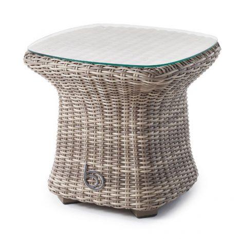 Sandbanks AquaMax Small Glass Top Garden Rattan Side Table. Wicker patio tables
