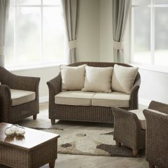 Alcester Brown Rattan Conservatory 6 Piece Suite