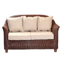 Alcester Brown Rattan 2 Seater Conservatory Sofa