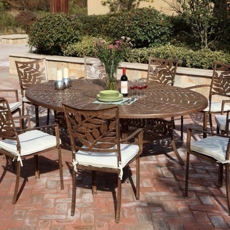 Forest 6 Seater Oval Cast Aluminium Dining Set. Metal garden furniture.