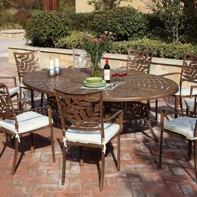 Forest 6 Seater Oval Cast Aluminium Dining Set including aluminium patio table and metal armchairs. Metal garden furniture