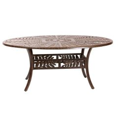 Forest 170cm Oval Cast Aluminium Table. Metal garden tables.