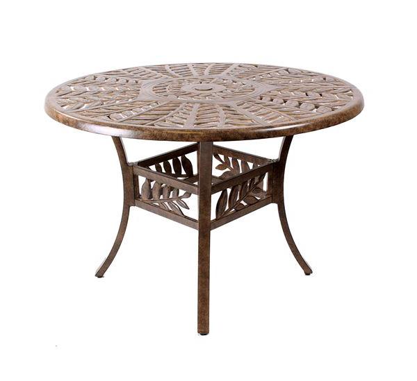 Round Cast Aluminium Leaf Design Table, Cast Aluminium Garden Tables Uk