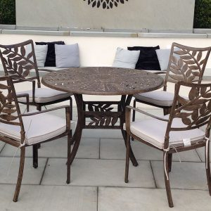 Conservatory Dining Furniture. Garden Dining Sets. Forest 4 Seater Round Cast Aluminium Dining Set