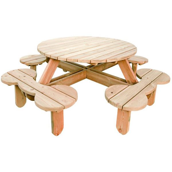 Duffy Seater M Round Picnic Bench Rattan And Teak Furniture - 8 seater round picnic table