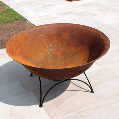 Etna Large Premium 1m Cast Iron Fire Pit Garden Fire Bowl Log Heater + Tripod Stand