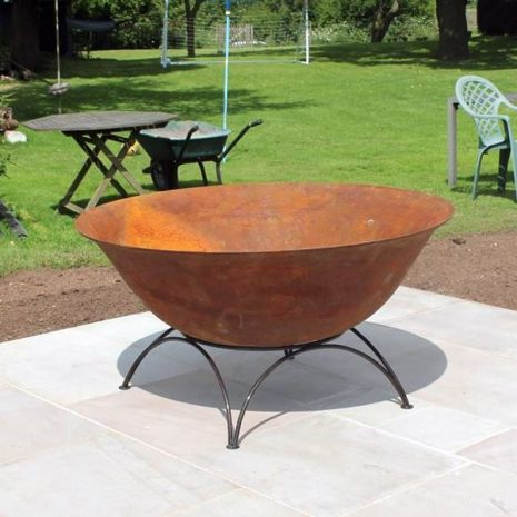 1m Cast Iron Fire Pit Bowl Log Burner + Heavy Duty Stand ...