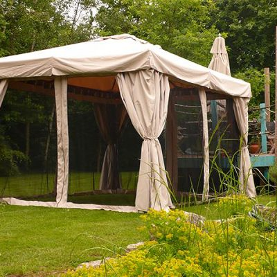 Kalahari 3m x 3m Square Wooden Frame Luxury Gazebo - Beige Canopy - Side Curtains - Mosquito net