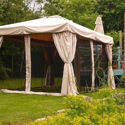 Kalahari 3m x 3m Square Wooden Frame Luxury Gazebo - Beige Canopy - Side Curtains - Mosquito net