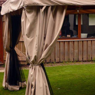 Kalahari 4m x 3m Rectangular Wooden Frame Luxury Gazebo - Beige Canopy - Side Curtains - Mosquito Net