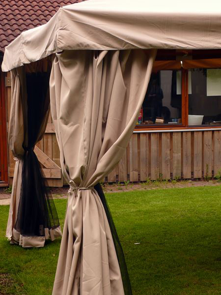 Kalahari 4m x 3m Rectangular Wooden Frame Luxury Gazebo - Beige Canopy - Side Curtains - Mosquito Net