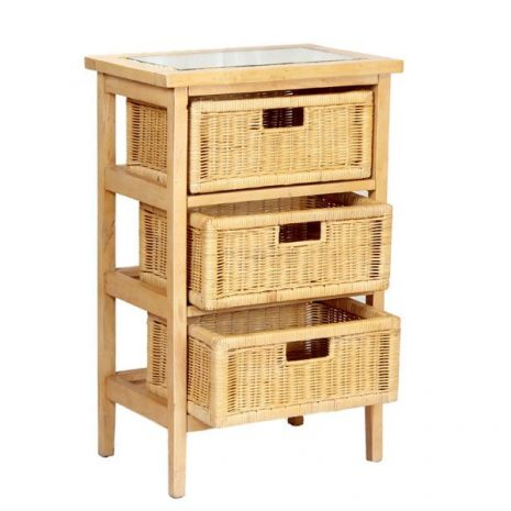 Lewes Natural Rattan 3-Drawer Conservatory storage Conservatory Storage Unit