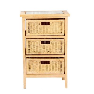 Lewes Brown Rattan 3-Drawer Conservatory Storage Unit