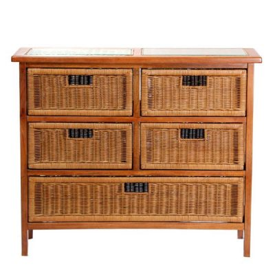 Lewes Brown Rattan 5-Drawer Conservatory Storage Unit