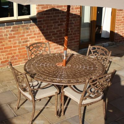 Azur 137cm Metal Round Garden Dining Table. Azur 4 Seater Round Cast Aluminium Garden Dining Set. Garden furniture metal