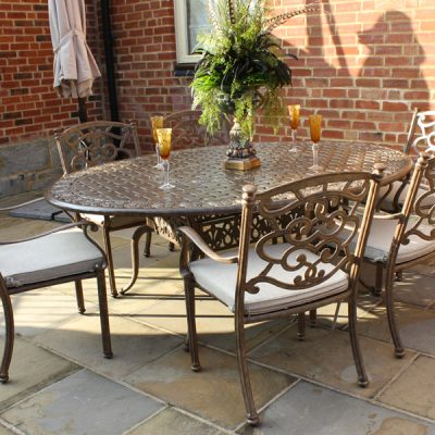 Azur 6 Seater Oval Metal Garden Dining Set