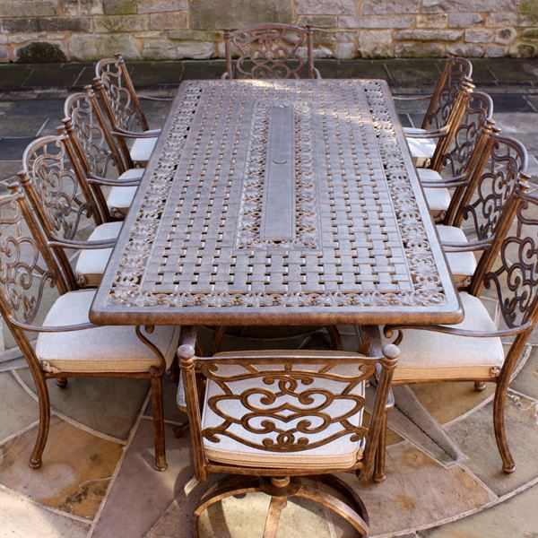 f759c8ead27a Azur 10 Seater Rectangular Metal Garden Dining Set - Rattan And Teak