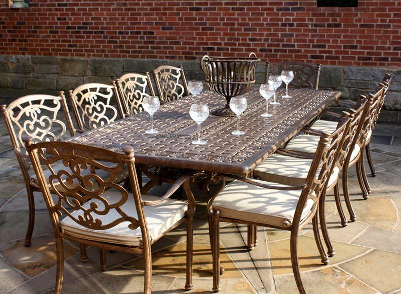 Azur 10 Seater Rectangular Metal Garden Dining Set