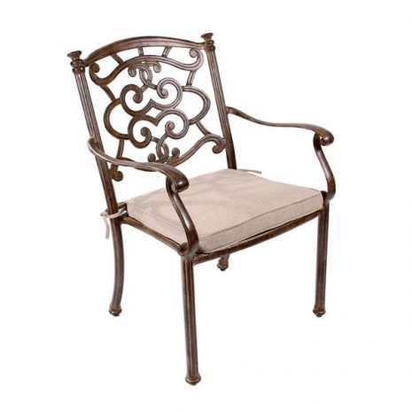 Azur Metal Garden Dining Armchair and outdoor cushion