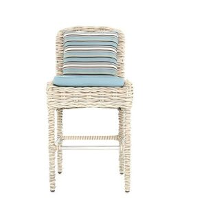 Poole Outdoor Garden Rattan Bar Stool With Backrest. Free outdoor cushion.