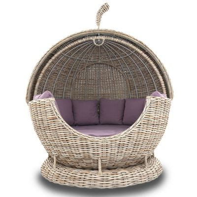 Poole Apple Rattan Outdoor Day Bed Sofa Lounger. With outdoor cushions