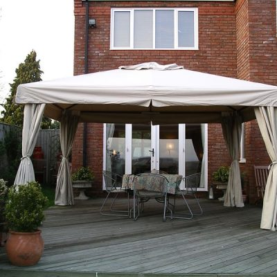 Sahara 4m x 3m Rectangular Wooden Frame Portable Gazebo. Beige Canopy. Side Curtains.