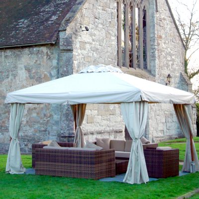 Sahara 3m x 3m Square Wooden Frame Portable Gazebo . Beige Canopy. Side Curtains