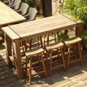Rectangular 2m Reclaimed Teak Bar Table