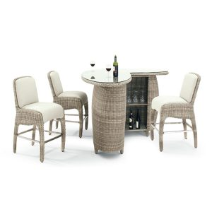 Sandbanks AquaMax 4 Seat Outdoor Garden Rattan Bar Set. with high bar stools