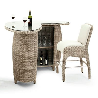 Sandbanks AquaMax Glass Top Garden Rattan Bar Table With Shelves. Garden furniture rattan