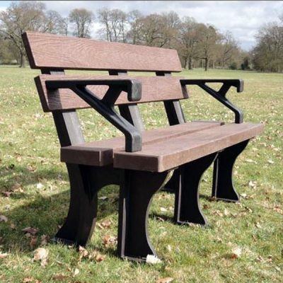 Orwell 130m 3 Seater Recycled Outdoor Plastic Bench Plus Arms