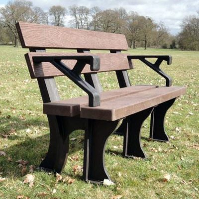 Orwell 150cm 3 Seater Recycled Outdoor Plastic Bench Plus Arms