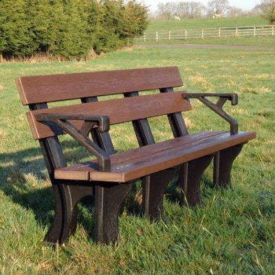 Orwell 180cm 4 Seater Recycled Outdoor Plastic Bench Plus Arms.