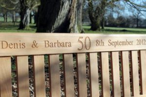 50th anniversary engraved teak bench
