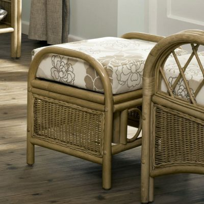 Cane Furniture Conservatory: Faversham Cane Rattan Conservatory Footstool plus cushion