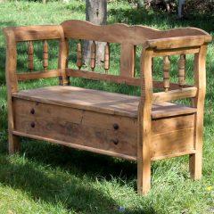 Larkin Reclaimed Teak Garden Storage Bench. Hardwood garden bench
