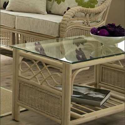 Ludlow Rattan Cane Glass Top Conservatory Coffee Table