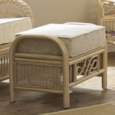Ludlow Rattan Cane Conservatory Footstool Plus Cushion