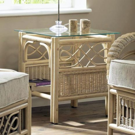 Ludlow Rattan Cane Glass Top Conservatory Side Table