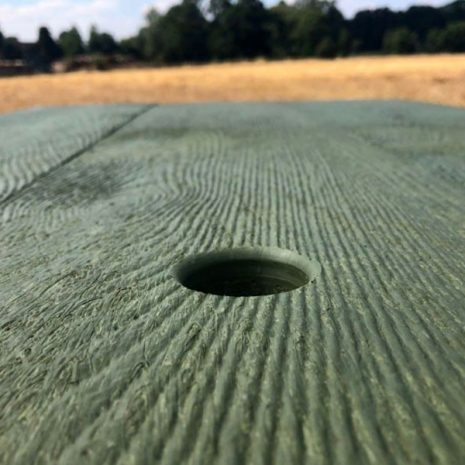 Orwell 180cm Eco Picnic Table Green Close Up Table top Parasol Hole
