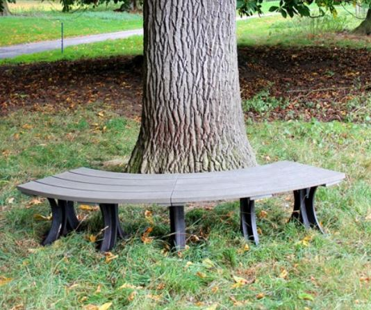 Astounding Orwell 2M Recycled Outdoor Plastic Curved Backless Bench Lamtechconsult Wood Chair Design Ideas Lamtechconsultcom
