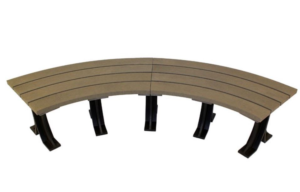 Orwell 2m Recycled Outdoor Plastic Curved Backless Bench Grain Effect